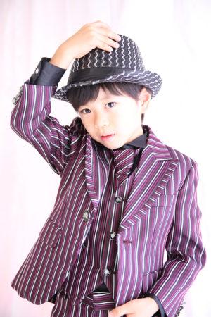 江戸川区 30年 七五三 5歳タキシード 紫ストライプ