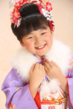 江戸川区 30年 七五三 7歳着物 紫