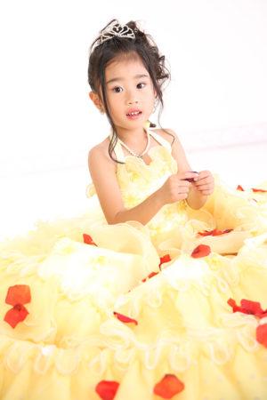 江戸川区 30年 七五三 7歳ドレス 黄色