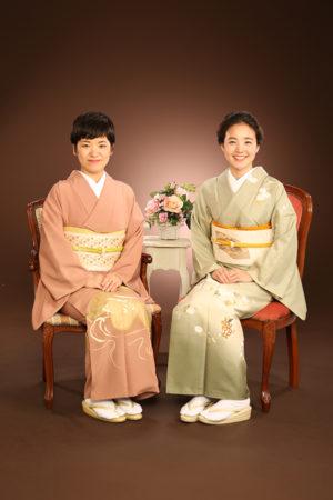 江戸川区 記念写真 友達と一緒 着物姿