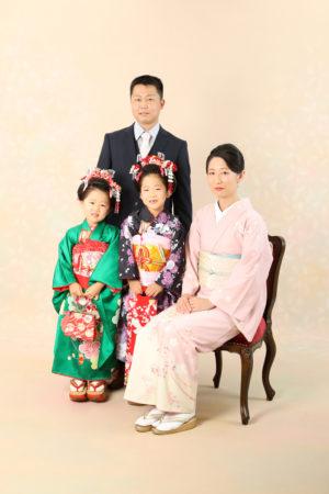 本八幡 市川市 七五三 七歳 家族写真 日本髪 記念写真