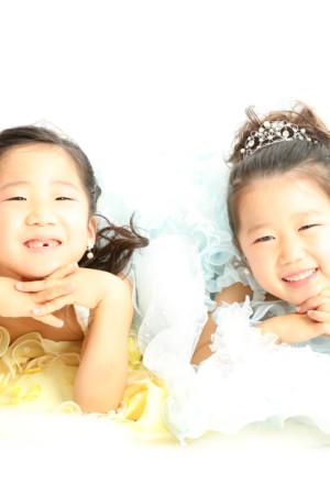 本八幡 市川市 七五三 七歳 前撮り ドレス 姉妹 記念写真 家族写真