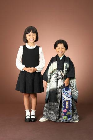 本八幡 市川市 七五三 5歳 記念写真 姉弟 家族写真