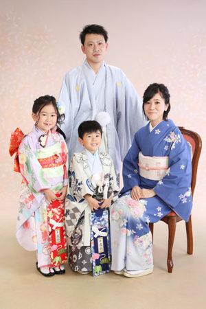 江戸川区 令和2年 七五三 着物でご家族写真