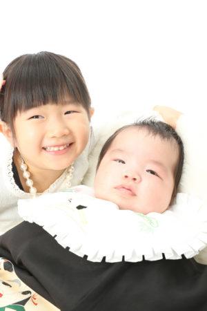 本八幡 市川市 お宮参り 姉弟写真 家族写真 記念写真