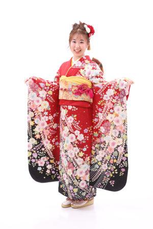 東京都 江戸川区 成人式 振袖前撮り 赤 辻が花柄