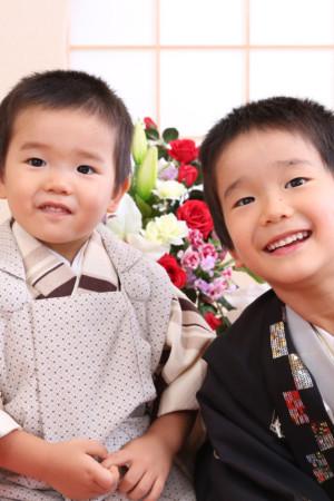 東京都 江戸川区 七五三 5歳羽織 3歳男の子被布 前撮り ご兄弟